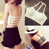 Women's Bralette Caged Back Cut Out Strappy Padded Bra Bralet Vest Crop
