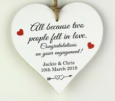 PERSONALISED ENGAGEMENT GIFT Present 12CM Wood Heart Plaque Sign Gift For Couple