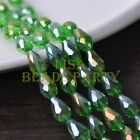New 30pcs 12X8mm Faceted Teardrop Crystal Glass Spacer Loose Beads Green AB