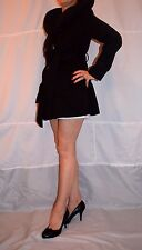 Ladies Black Coat Belted Large Collar Stand Up Atmosphere size 12