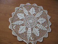 pretty vintage white colored hand crocheted crochet doilie 15""