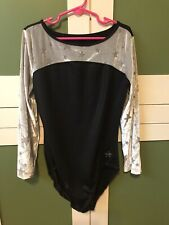 Justice Girls Leotard Size 14 Long Sleeve Black Silver Star