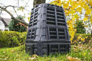 Thermokomposter mit Klappe Gartenkomposter Kunststoff Schwarz 480 740 1000 L