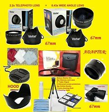 23pc: 2.2x TELEPHOTO +0.43x WIDE ANGLE LENS + ADAPTER TO CAMERA NIKON L340 67mm+