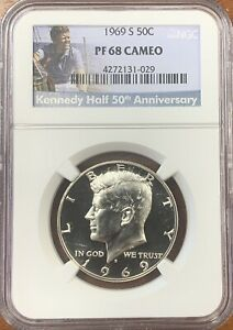 1969-S Kennedy Half Dollar NGC PF68 Cameo