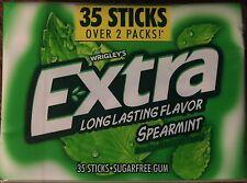 Extra Spearmint 35 Stick Hard Plastic Box Pack Sugar Free Gum FRESH Wrigley's