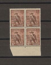 "AUSTRALIA BCOF 1946/7 SG J4/4a ""Wrong Fount 6"" MNH BLOCK Cat £387"