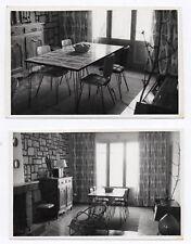 PHOTO Intérieur 1960 Snapshot Salle à manger Chaise Rotin Chaise Lot 2 photos