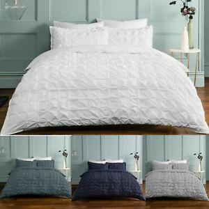 Rouched Pleat Duvet Bedding Set & Pillow Cases Single Double King