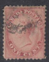"Canada Scott #14  1 cent rose Queen Victoria ""First Cents""   F"