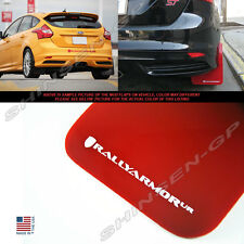Rally Armor UR Red Mud Flaps w/ White Logo for 2012-2018 Ford Focus Hatchback