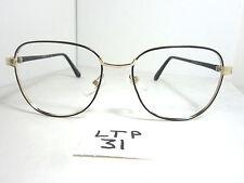 Vtg 80s Scorpio Squared Eyeglass Frame Gold Black (Ltp-31)