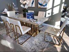 SALE Esstisch Tisch Stühle 200x100 Marmoroptik Premium Gold