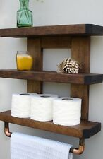 Bathroom Storage Shelf Wall Organizer Towel Rack Rustic Wood Space Saver