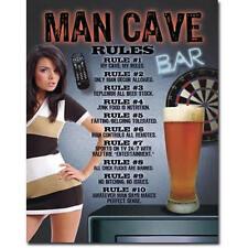 Man Cave Rules Hot Girl Beer Novelty Sign Bar Shed Garage Games Pool Room Rumpus