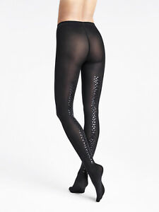 RRP €75 WOLFORD Back Seam Snake Shimmer 66 DEN Tights Size S Black Seamless Soft
