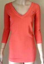 HOLLISTER 3/4 Sleeve V-Neck Top Size M Orange Scoop Back Tunic