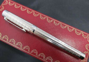CARTIER Rollerball Pen Pasha Brushed Silver Palladium Finish with Case