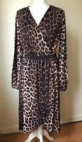 V By Very Brown Leopard Print Wrap Style Dress Long Sleeve Size 14 BNWT