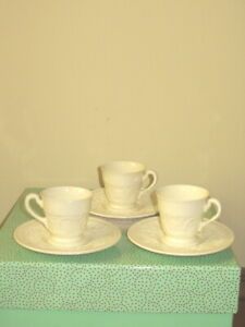 THREE Wedgwood Of Etruria and Barlaston Patrician Demitasse Cups & Saucers