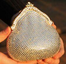 JUDITH LEIBER Bookmark GOLD FOO DOG FU CHINESE & chatelaine purse clutch crystal
