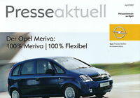 2126OPE Opel Meriva Prospekt 2003 4/03 Pressestimmen brochure press reports Auto