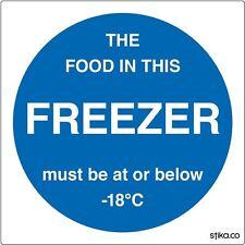 100mm Freezer Temperature Sign - Food Storage Notice Self-Adhesive Vinyl Sticker