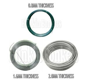 HEAVY DUTY GARDEN WIRE SIZE THICKNESS CHOICE GALVANISED METAL FENCING GREEN PVC