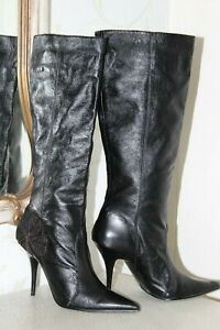 MISS SIXTY Genuine  Black Leather Ladies Knee Length Pull on Boots Heels Size 5