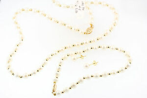 """GORGEOUS18"""" CULTURED PEARL NECKLACE BRACELET EARRINGS SET 14k GOLD SPACER BEADS"""