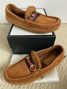 NIB Gucci Kanye Brown Suede Shearling Lined Horsebit Driving Loafers 8 US 9 $760