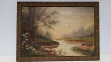 Antico Dipinto olio  Francese XIX sec impressionismo paesaggio da identificare