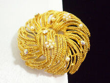 SPIRAL TWIST AB Rhinestone Pearl Gold Plate Brooch Pin Textured Vintage Estate
