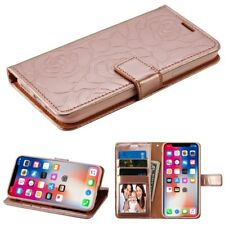IPHONE X 10 XS Rose Gold Flip cover Wallet case pouch USA SELLER