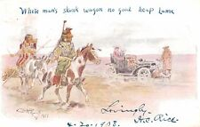 "SIGNED Charles Russell Postcard,""White Man's Skunk Wagon..."",Indians,Used,1908"