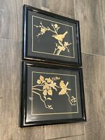 Set Of 2 Asian Wall Art- Birds On Tree Branches - Wood On Fabric