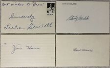 Baseball HOF Signed Index Cards (4) - Coveleski / Averill / Sewell / Haines