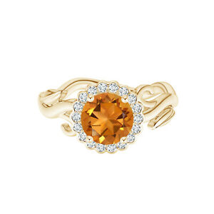 Vintage Inspired 0.75 Cts Citrine Flower Stackable Ring 9K Yellow Gold US-4