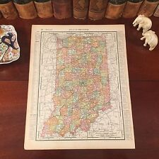 Original 1899 Antique Map INDIANA Evansville Gary Muncie South Bend Ft Wayne IN