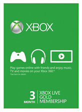 Microsoft Xbox 360 Live 3 Month Gold Subscription Membership Card
