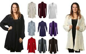 Womens Ladies New Knitted Waterfall Boyfriend Long Cardigan Plus Size 8-26 Uk
