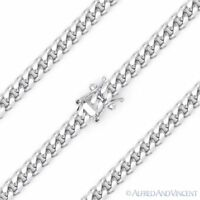 4.2mm Miami Cuban Curb Link Italy .925 Sterling Silver w/ Rhodium Chain Bracelet