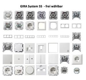GIRA System 55 / E2 Reinweiß SEIDENMATT Schalter/Steckdose/Rahmen - frei wählbar