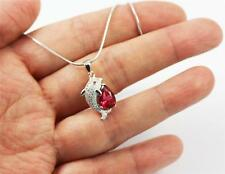 """Pretty Solid 925 Sterling Silver, Red Ruby,CZ Fish Pendant Necklace 18"""" + box"""