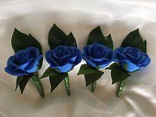 4x Silk Royal Blue rose Grooms & Groomsmens Wedding bridal flower Buttonholes