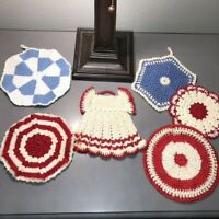 Lot of 6 Vtg Crocheted Doilies Pot Holders Red & Blue Red Dress Hanging Retro