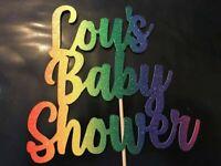 Baby Shower Bright Rainbow Custom Cake Topper Baby Shower Personalised