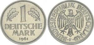 BRD 1 Mark 1 DM Kursmünze 1961 F Kursmünze prfr.  60209