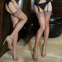 Sexy Womens Glossy Ultra-thin Shiny Lace Top Thigh High Silk Stockings Hold Ups