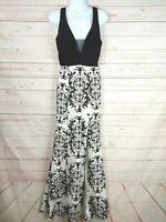 Crystal Doll Sleeveless Black/White Full Length Damask Gown/Dress W/Slit Size 3